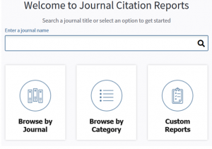 Journal Citation Reports homepage search. Search by title or browse by category