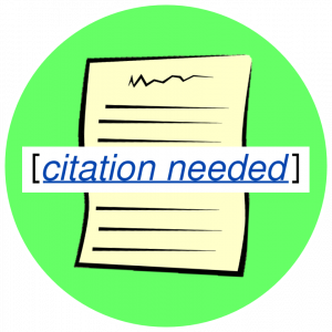 "Picutre of an essay with an overlay saying ""citation needed"""