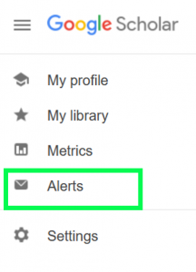 Google SCholar sidebar menu with Alters highlighted