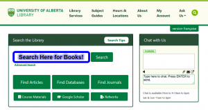 Image of the library home page and the main search bar