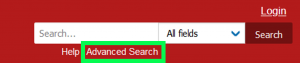 arxiv search bar with the advanced search option highlighted