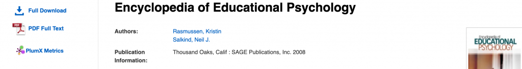 Encyclopedia of Educational Psychology ebook platform