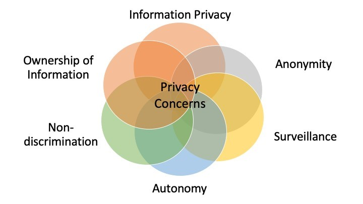 A graphic showing the six privacy concerns identified in Regan and Jesse (2018): information privacy, anonymity, surveillance, autonomy, non-discrimination, and ownership of information