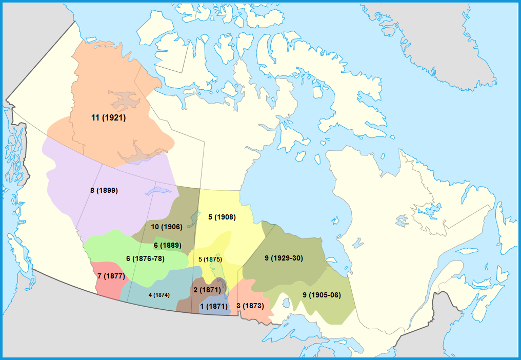 This map shows all treaties made in Canada
