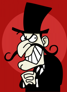 cartoon villain with evil mustache