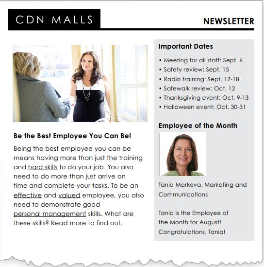 CDN Malls newsletter page 1