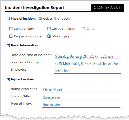 Incident investigation report page 1