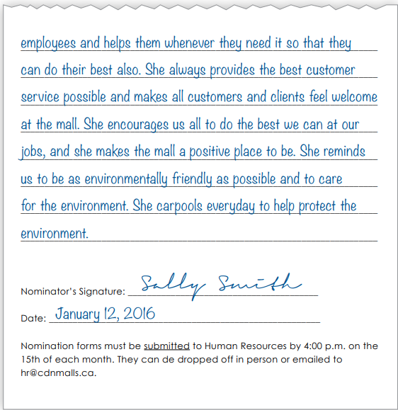 Employee of the month nomination form page 2