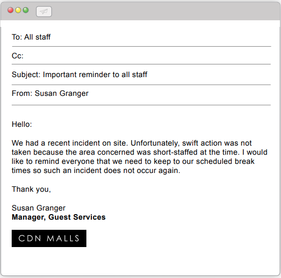 Email from Susan Granger