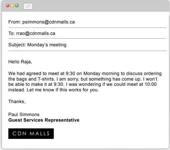 Email from Paul Simmons to Raja Rao