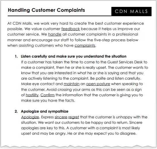 Handling customer complaints, page 1