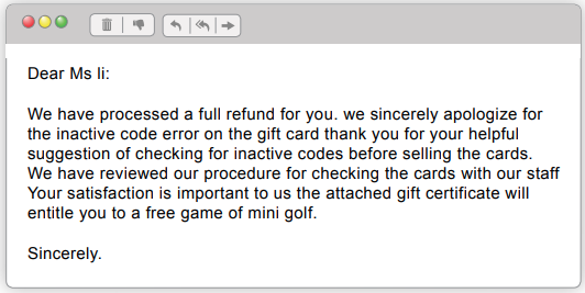 Apology email with errors