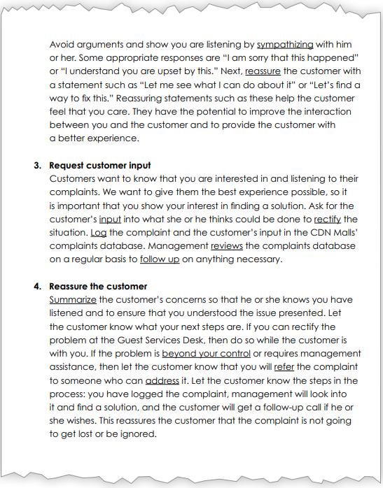 Handling customer complaints, page 2