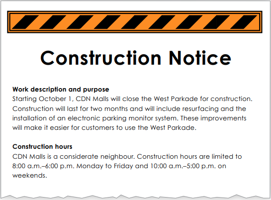 Construction notice, page 1
