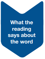 What the reading says about the word