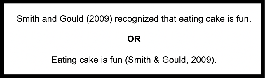 "Image of two in-text citation examples for narrative and parenthetical in-text citations. The narrative example reads ""Smith and Gould (2009) recognized that eating cake is fun. The parenthetical example reads ""Eating cake is fun (Smith & Gould, 2009)."