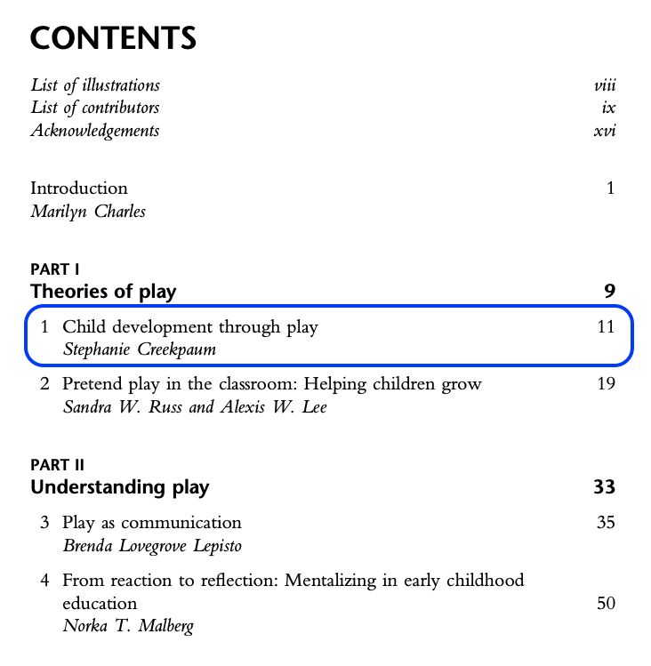 "Table of contents of the ebook ""The importance of play in early childhood education: Psychoanalytic, attachment, and developmental perspectives"". In the image the first chapter is highlighted with a blue border. The first chapter is titled ""Child development through play"" by Stephanie Creekpaum and starts at page 11 and ends at page 18."