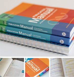 Book collage of APA Publication Manuel volumes and pages within.