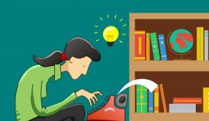 Writer with a long black ponytail wears a green collared shirt with a shining lightbulb above their head symbolizing having an idea. The writer is typing on a red typewriter in a teal coloured room with a brown bookcase filled with books and a globe.