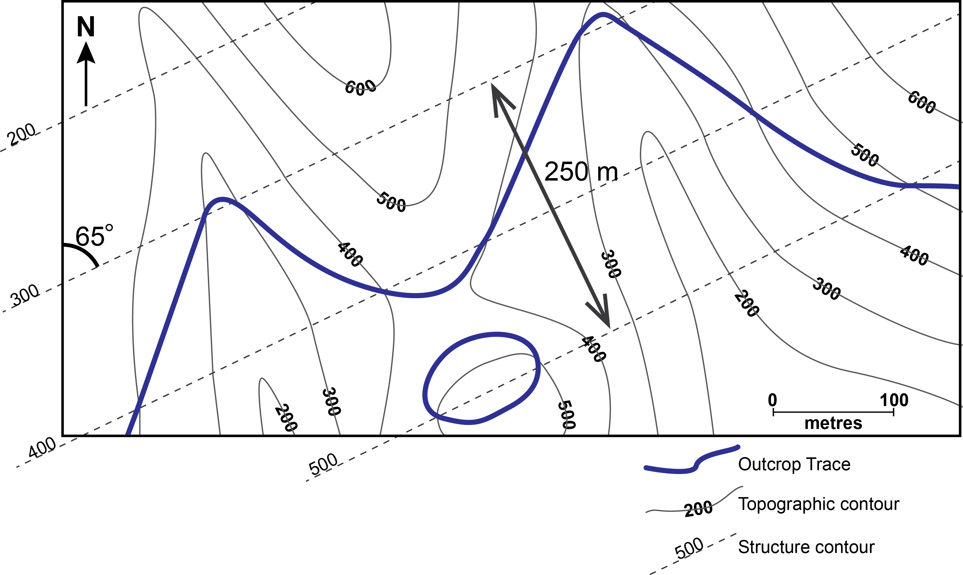 Structure contour construction on the map in Fig. 9