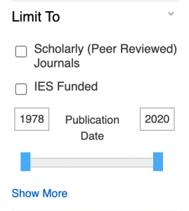 ERIC search limits - scholarly and dates