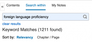 Search Within Ebook for keywords: foreign language proficiency