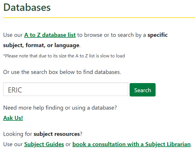 Find Databases search tool