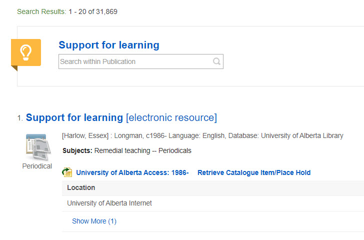 Support Learning Journal Title