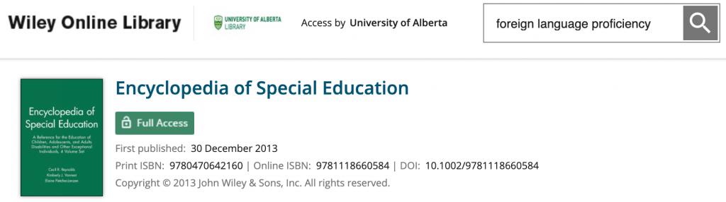 Wiley Encyclopedia of Special Education