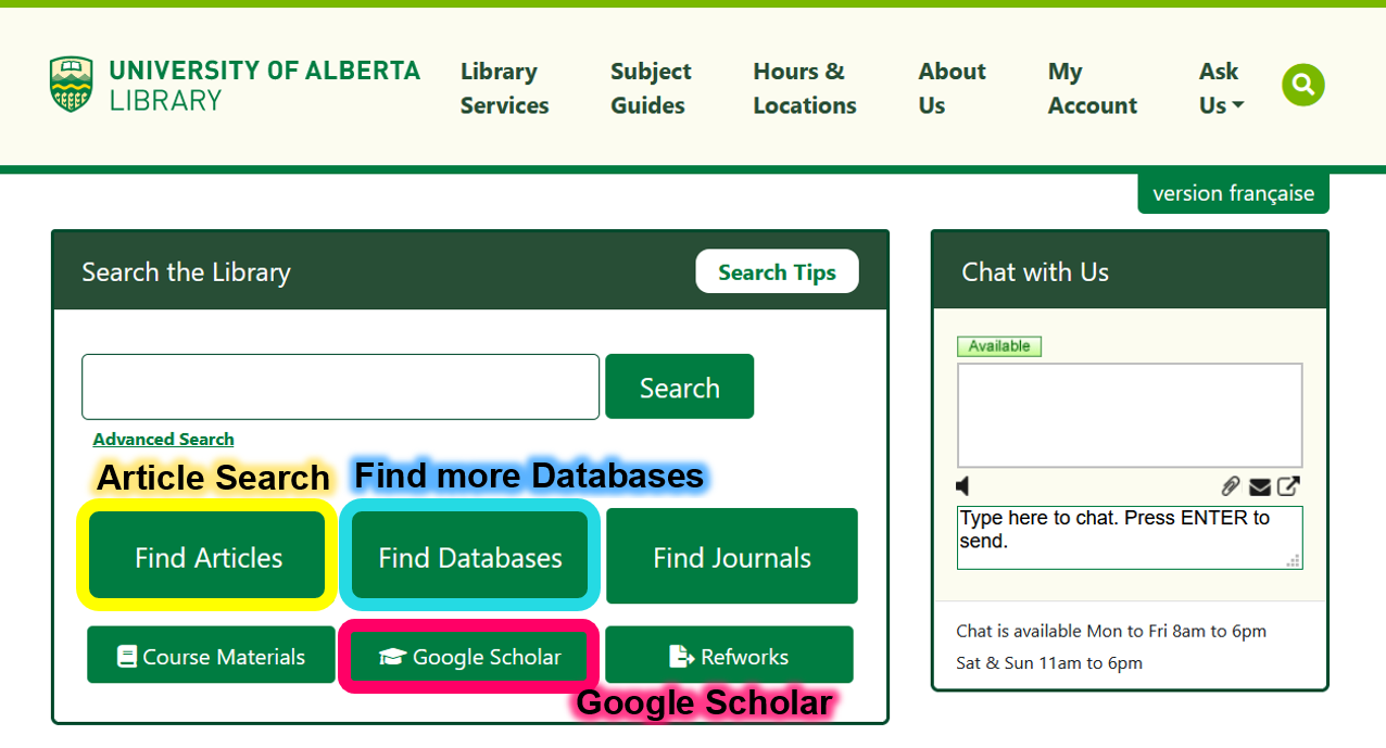 Search for articles using the Find Articles or Google Scholar links