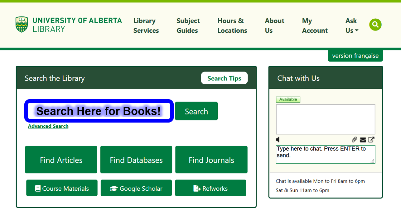 Search the main library search bar, or library catalogue for books