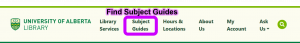 Library homepage header highlighting subject guides