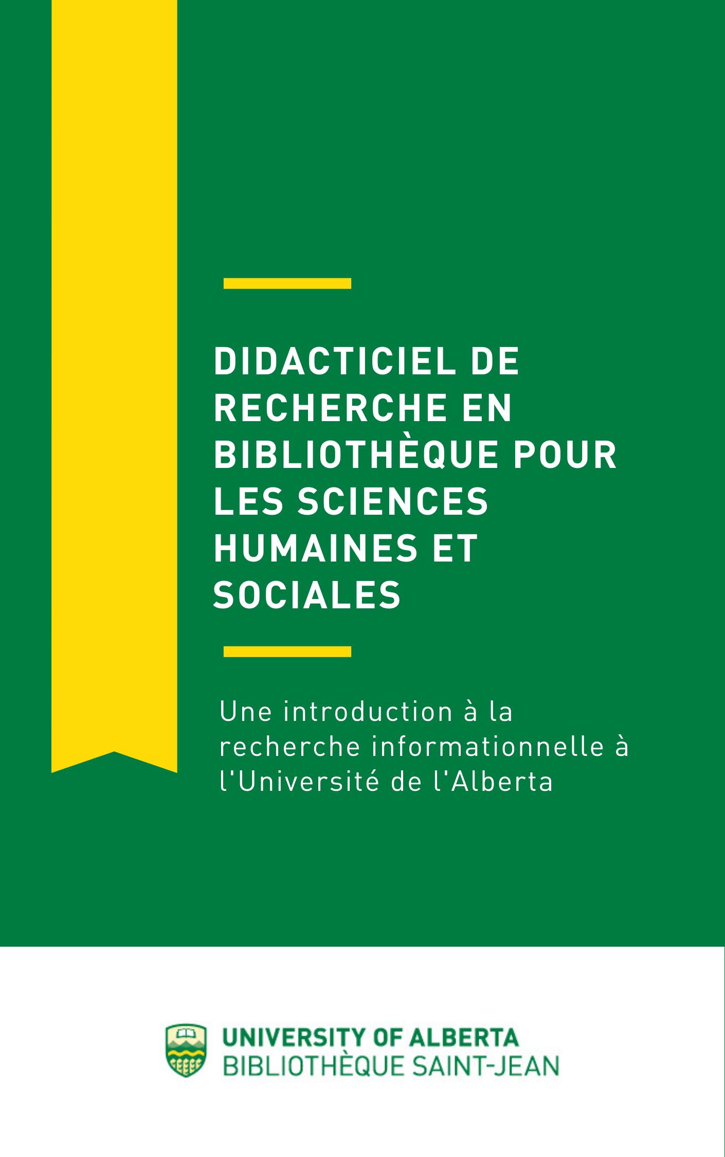 Page couverture de Didacticiel de recherche en bibliothèque pour les sciences humaines et sociales