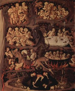 Painting of people suffering torments in hell.