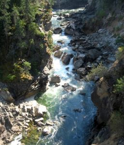 Figure 8.2.1: The Cascade Falls area of the Kettle River, near Christina Lake, B.C. This stream cuts a deep narrow channel through the bedrock