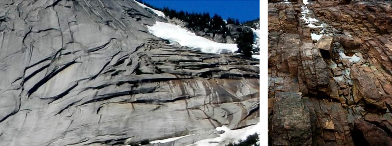 Figure 10.3.1: Granite in the Coquihalla Creek area, B.C. (left) and sandstone at Nanoose, B.C. (right), both showing fracturing that has resulted from expansion due to removal of overlying rock.