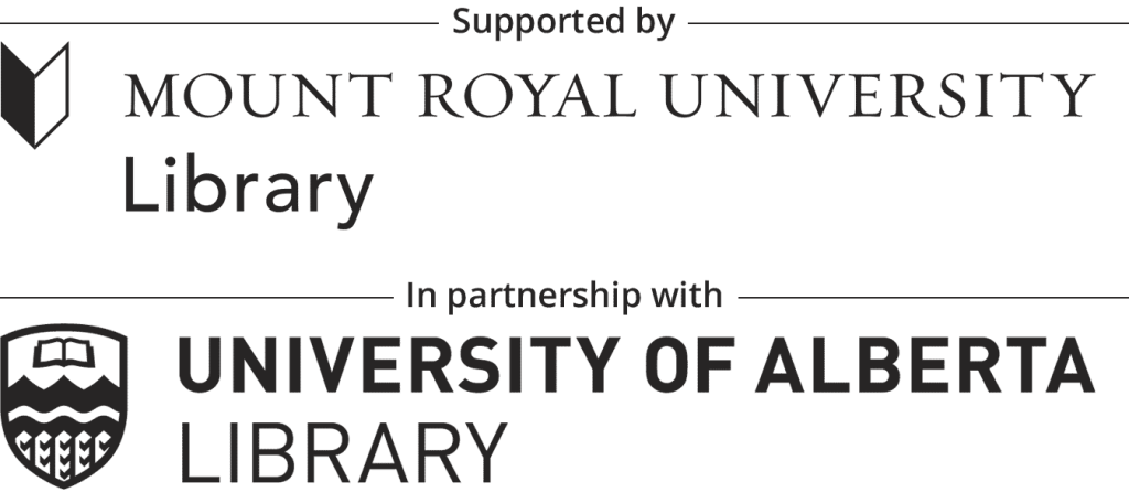 Logo that says supported by Mount Royal  University Library in partnership with the University of Alberta Library