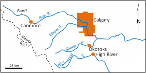 Figure 8.0.2: Map of the communities most affected by the 2013 Alberta floods (in orange).