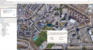 Figure T4: Using the ruler tool to measure distances in Google Earth. The dialogue box will tell you the length of the line you are measuring. This example shows that the length of two soccer fields at MRU is 151.47 m (see yellow line on map).