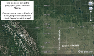 Figure T9: Geographic grid system displayed over southern Alberta.