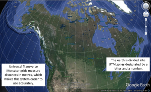 Figure T10: Universal Transverse Mercator (UTM) zones in Canada. Zones are designated by a number and a letter, e.g., the city of Vancouver, BC is in UTM zone 10 U.