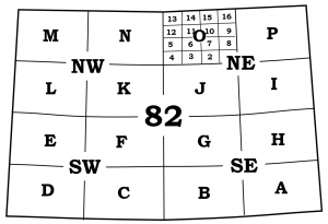 Figure 8.3.2: Example of the National Topographic Index Numbers of map sheets within the primary quadrangle number 82. Map sheet 82 is subdivided into four quarters (NE, SE, SW, NW). These quarters are further subdivided into four parts each designated with a letter, beginning with A in the southeast corner and ending with P in the northeast corner. Finally, each of these parts is divided into 16 parts numbered 1 through 16.
