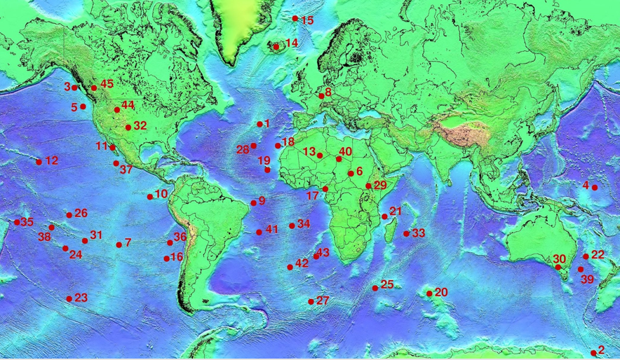 Figure 1.1.8: Mantle plume locations. Selected Mantle plumes: 1: Azores, 3: Bowie, 5: Cobb, 8: Eifel, 10: Galapagos, 12: Hawaii, 14: Iceland, 17: Cameroon, 18: Canary, 19: Cape Verde, 35: Samoa, 38: Tahiti, 42: Tristan, 44: Yellowstone, 45: Anahim