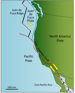 Figure 1.2.7: The San Andreas Fault extends from the north end of the East Pacific Rise in the Gulf of California to the southern end of the Juan de Fuca Ridge. All of the red lines on this map are transform faults.