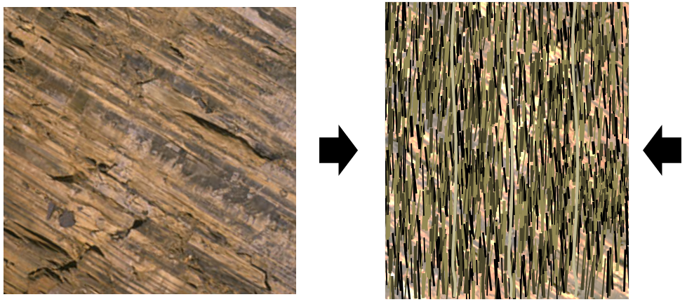 Figure 6.2.2: The textural effects of squeezing and mineral growth during regional metamorphism. The left diagram is shale with bedding slanting down to the right. The right diagram represents schist (derived from that shale), with mica crystals orientated perpendicular to the main stress direction and the original bedding no longer easily visible.