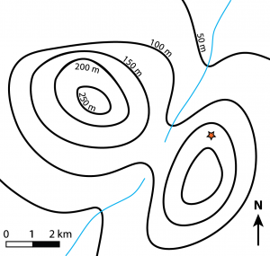 Figure 8.3.3: Example of a 1:50,000 scale topographic map including contour lines with a contour interval of 50 m.