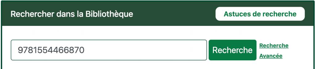 Recherche par ISBN dans le catalogue de la bibliothèque