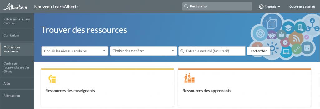 Page initiale de trouver des ressources
