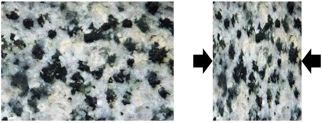Figure 6.2.1: The textural effects of squeezing during metamorphism. In the original rock (left) there is no alignment of minerals. In the squeezed rock (right) the minerals have been elongated in the direction perpendicular to the squeezing.