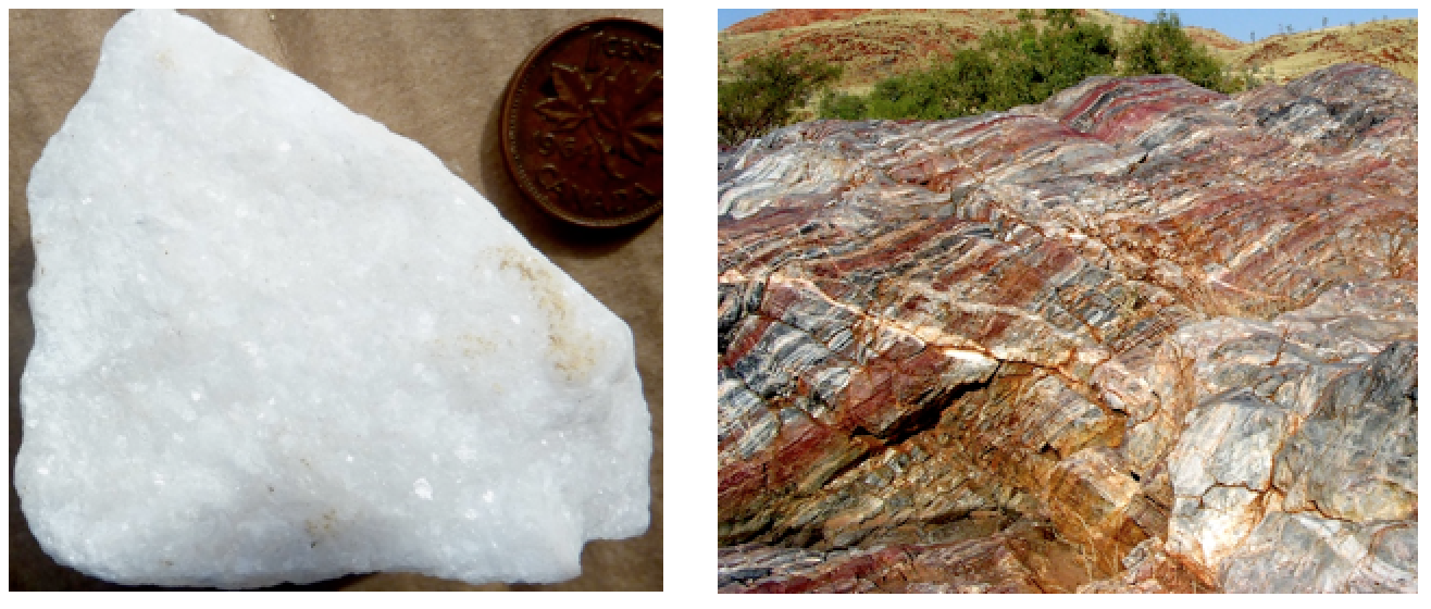 Figure 6.2.7: Marble with visible calcite crystals (left) and an outcrop of banded marble (right).